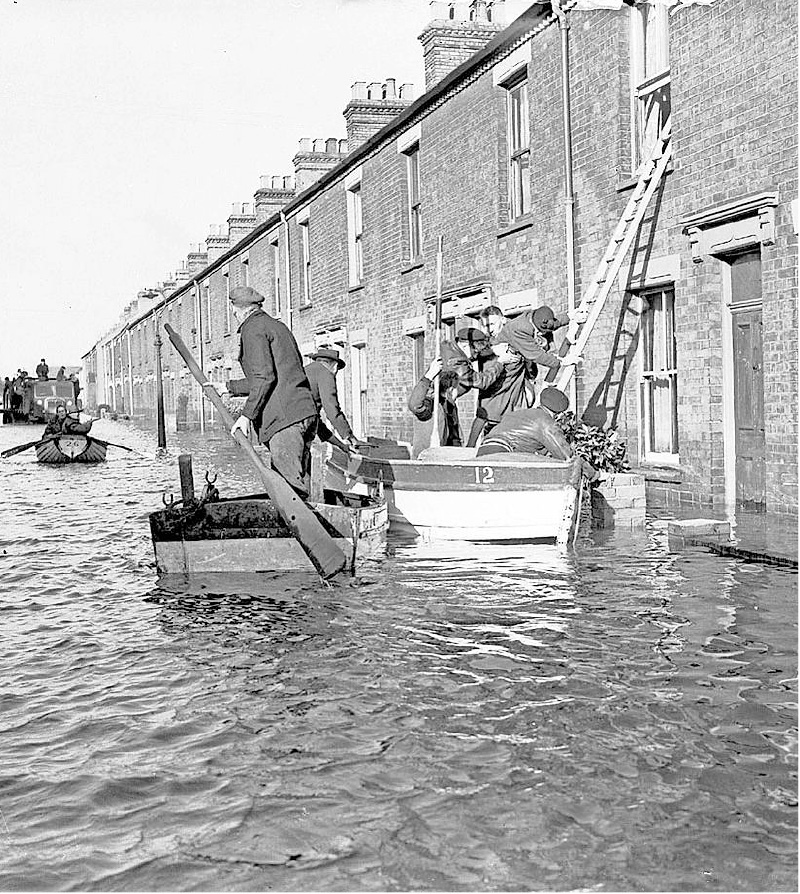 Flood rescue by small boats.