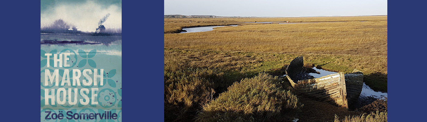 The book cover and a desolate Norfolk landscape